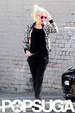 Gwen Stefani walked outside of a recording studio in Hollywood.
