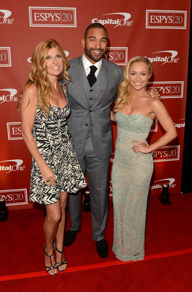 Connie Britton, Matt Kemp and Hayden Panettiere posed together backstage at the ESPY Awards.
