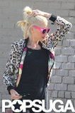 Gwen Stefani had her hair pulled up while recording.
