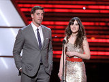 Zooey Deschanel and Aaron Rodgers spoke onstage at the ESPY Awards at the Nokia Theatre.