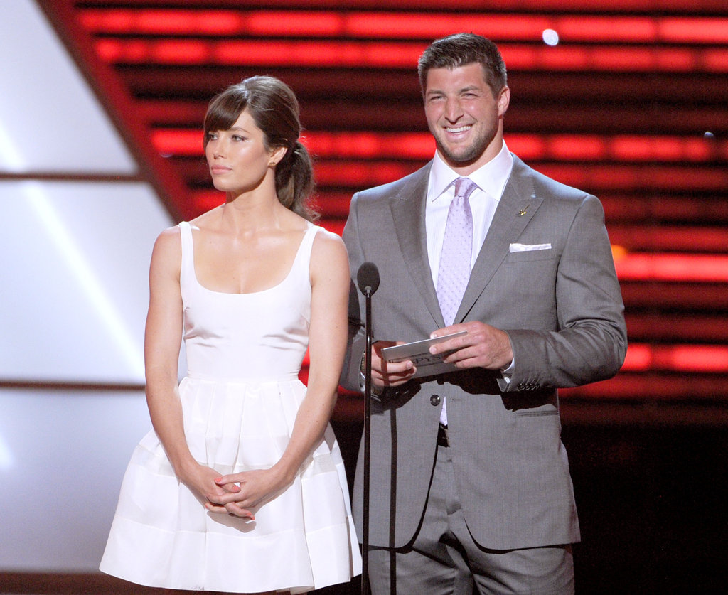 Jessica Biel and Tim Tebow took the stage together at the ESPY Awards in Los Angeles, CA.