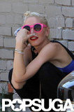 Gwen Stefani sported hot pink shades outside a recording studio in Hollywood.