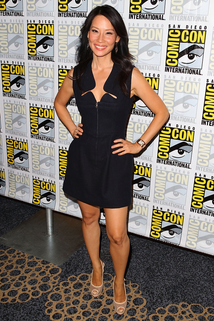 Lucy Liu looked sexy in a bold LBD and nude peep-toe pumps at the Beauty and the Beast press event.