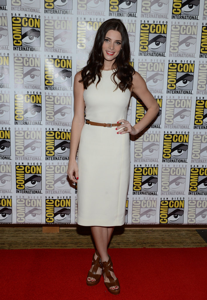 Ashley Greene chose a simple white sheath and brown gladiator-inspired sandals from Michael Kors's pre-Fall 2012 collection for the Breaking Dawn Part 2 panel.