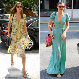 Miranda Kerr Wearing Mint Wrap Maxi Dress