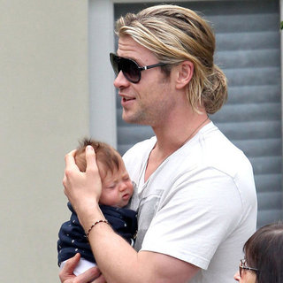Chris Hemsworth Holding Baby India in LA Pictures