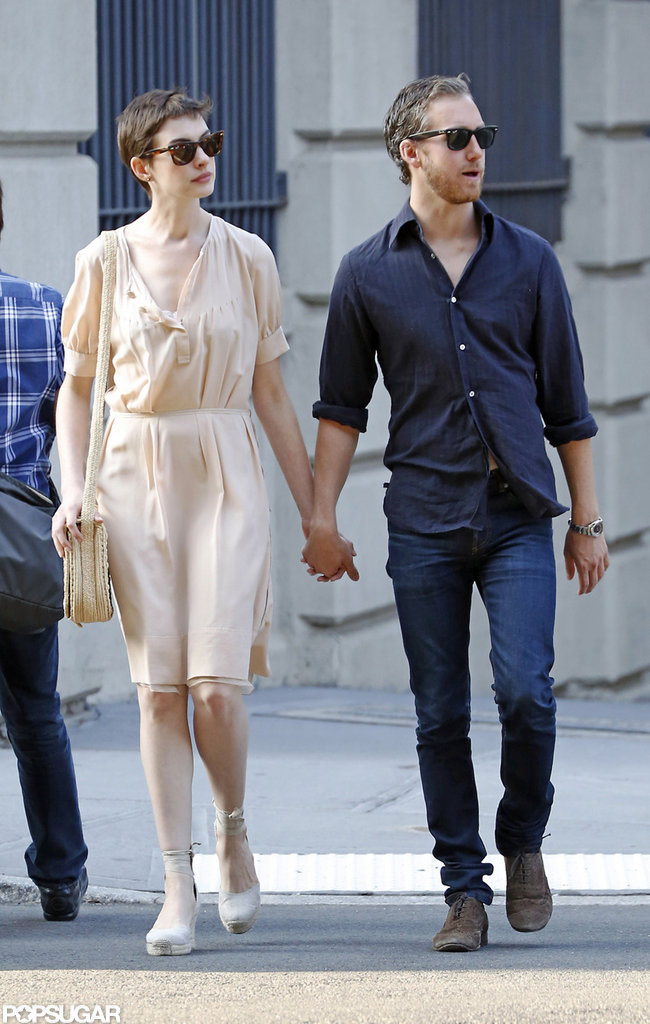 Anne Hathaway Breaks From Press For PDA With Her Fiancé