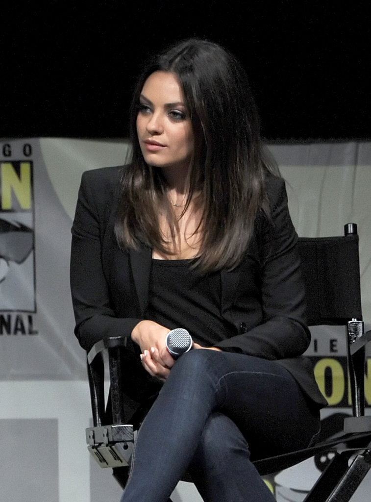 Mila Kunis wore a black blazer and denim for a panel to discuss Oz: The Great and Powerful at Comic-Con.
