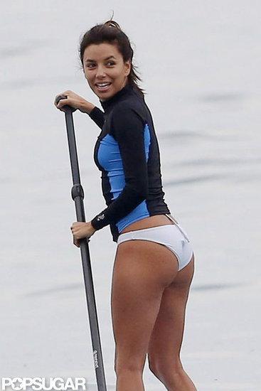 Eva Longoria Makes a Splash in Bikini Bottoms as She Shoots Her New Show