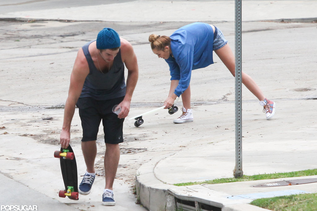 Miley Cyrus followed Liam Hemsworth's lead on the skateboard.