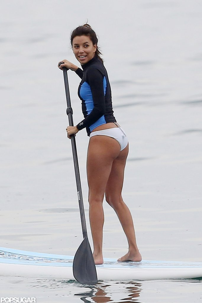 Eva Longoria went paddleboarding in Malibu for her new reality show Ready For Love.
