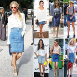 See how these stylish celebrities rock an old-school staple — the denim skirt.