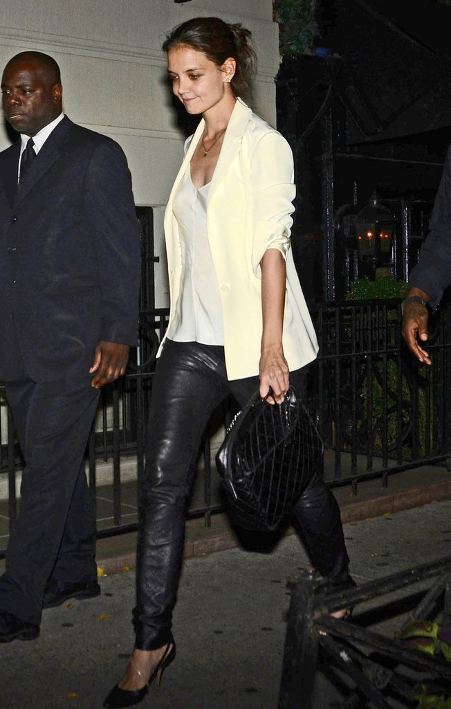Katie Holmes gave warm-weather leather a spin with a chic white blazer while out to dinner in NYC.