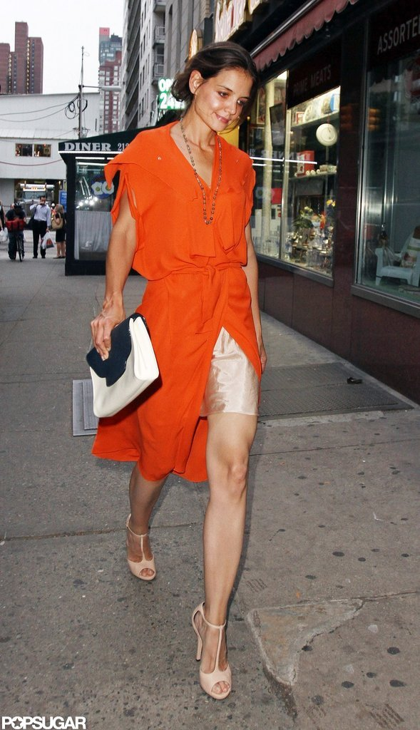 Katie Holmes showed some leg.