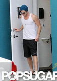 Liam Hemsworth worked out.