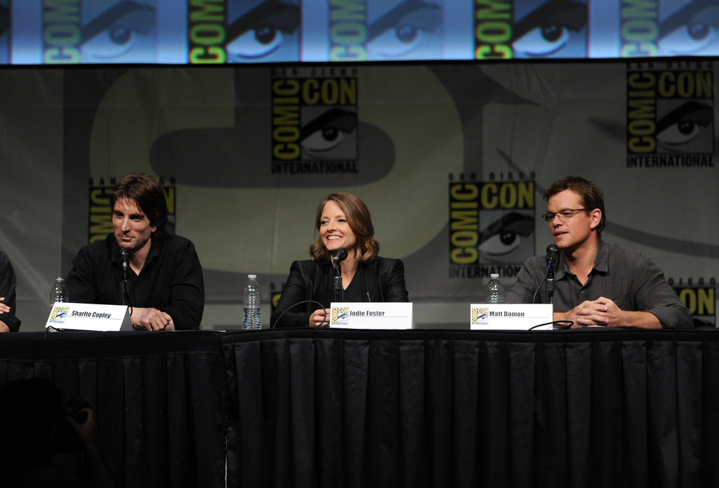 Sharlto Copley, Jodie Foster, and Matt Damon talked about Elysium.