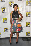 Kerry Washington toughened up her colorful floral J. Mendel skirt with a leather halter-style top and chunky platform pumps.