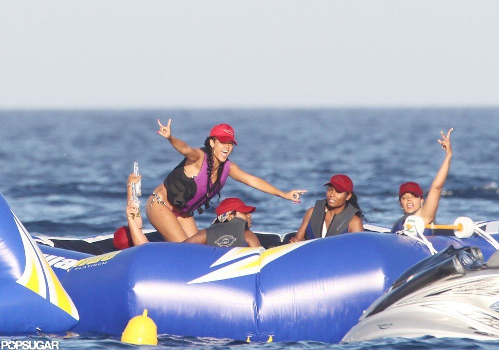 Rihanna had some fun in Italian waters with friends.