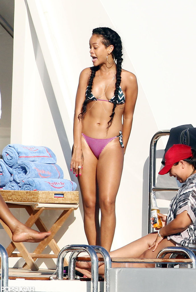 Rihanna showed off her fit figure aboard a yacht in Saint-Tropez in July.
