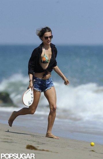 Alessanda Ambrosio played on the beach.