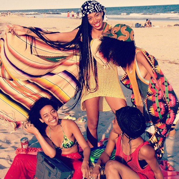 Solange Knowles spent a day on the beach with friends. Source: Instagram user mydamnstagrams