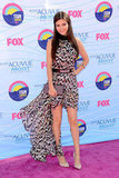 Victoria Justice wore a printed Gomez-Gracia dress, Lauren Merkin clutch, and Schutz shoes.
