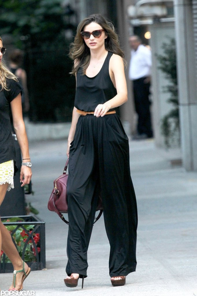 Miranda Kerr left the Victoria's Secret photo shoot in a black jumpsuit and belt.