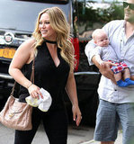 Hilary Duff was spotted in NYC with her husband Mike Comrie and son Luca.