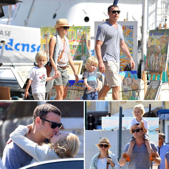 Naomi Watts Kisses Liev Schreiber During a Family Vacation