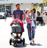 Alyson Hannigan and Alexis Denisof shopped in LA with their daughters, Keeva and Satyana, on Sunday.