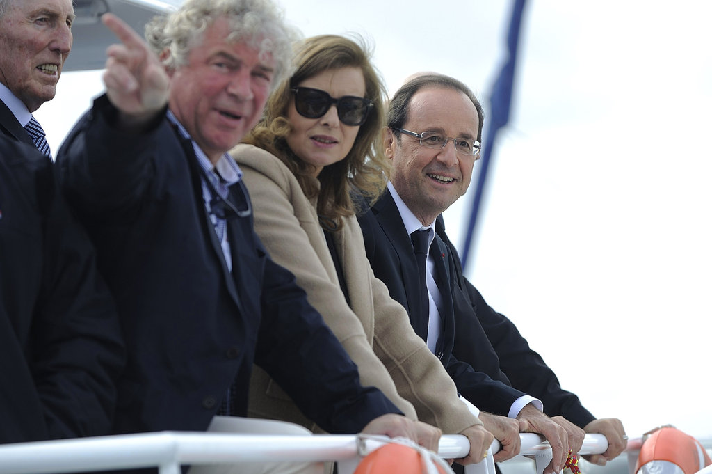 French president François Hollande was joined with partner Valérie Trierweiler ahead of the traditional shipping festival, Tonnerres de Brest, in the Brest Bay.