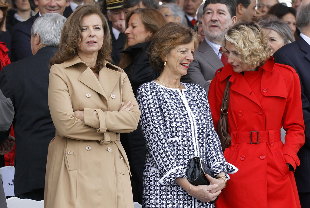 Valérie Trierweiler stood beside Brigitte Ayrault, the wife of France's prime minister, and Véronique Bartolone, the wife of the French National Assembly speaker, for the Bastille Day military parade in Paris.