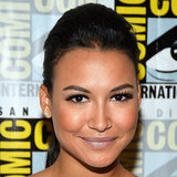 Naya Rivera's lavender lip and heavy top lash-line looked perfect on the Glee star.