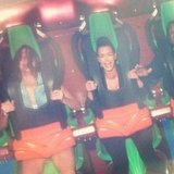 Kim Kardashian and Kendall Jenner screamed their way through a roller-coaster ride in July. Source: Instagram user kendallnjenner