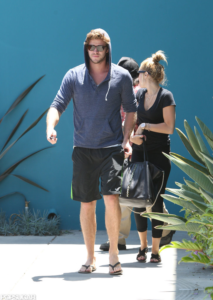 Engaged duo Miley Cyrus and Liam Hemsworth stuck together.