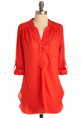 "When it's got ""breeze"" in the name, you know it was made for staying cool in the heat.  Pam Breeze-ly Tunic in Tomato ($35)"