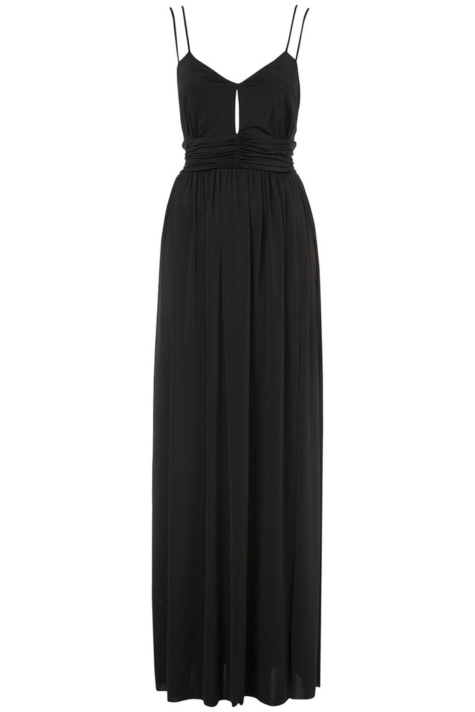 Minimum effort and maximum glamour in one easy piece that you can slip on with flat sandals or style up with heels for a cocktail party.  Topshop Slinky Triangle Maxi Dress ($92)