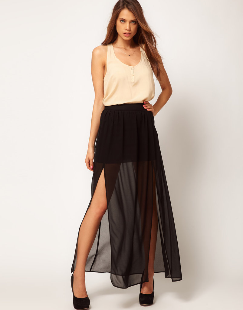 Style up a look that's only figuratively hot with this slit, semi-sheer maxi.  ASOS Double Split Maxi Skirt ($50)