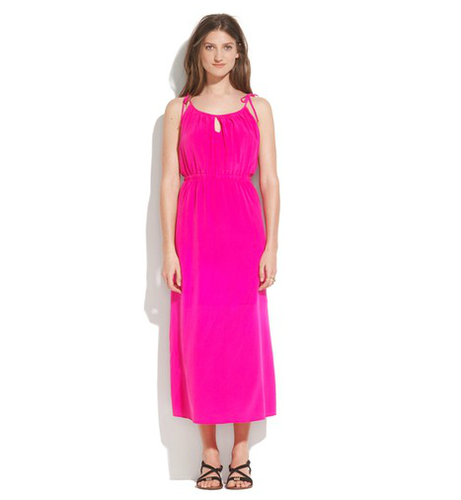 A hot-pink hue does the work or you, so all you have to do is slip this on.  Madewell Silk Moondrop Maxi Dress ($100, originally $188)