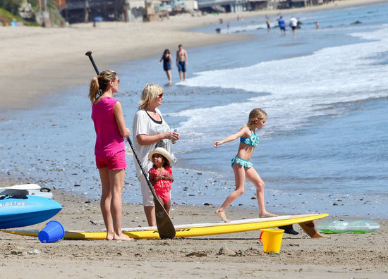 Heidi Klum took her kids to the beach in Malibu for some fun water activities.