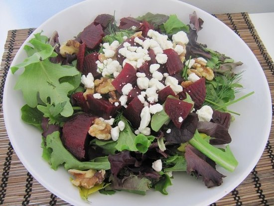 Roasted Beet Salad With Goat Cheese, Walnuts And Honey Dijon ...