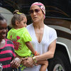 Jennifer Lopez Wearing Printed Head Scarf