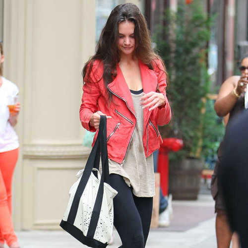 Katie Holmes Wearing Orange Zipper Jacket