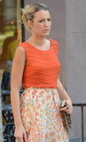 Blake Lively had her hair pulled back while filming a scene in NYC.
