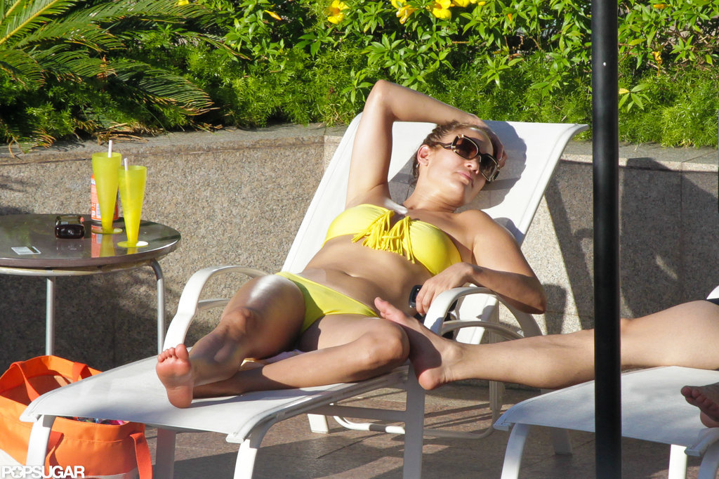 Jennifer Lopez lounged in a bright bikini.