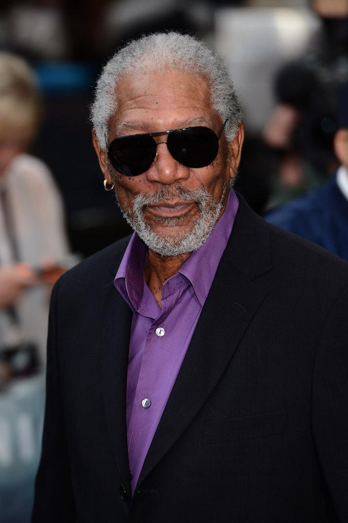 Morgan Freeman sported shades at the Dark Knight Rises premiere in London.