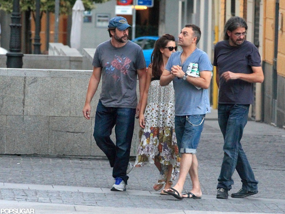 Javier Bardem looked comfortable in jeans and a tee.