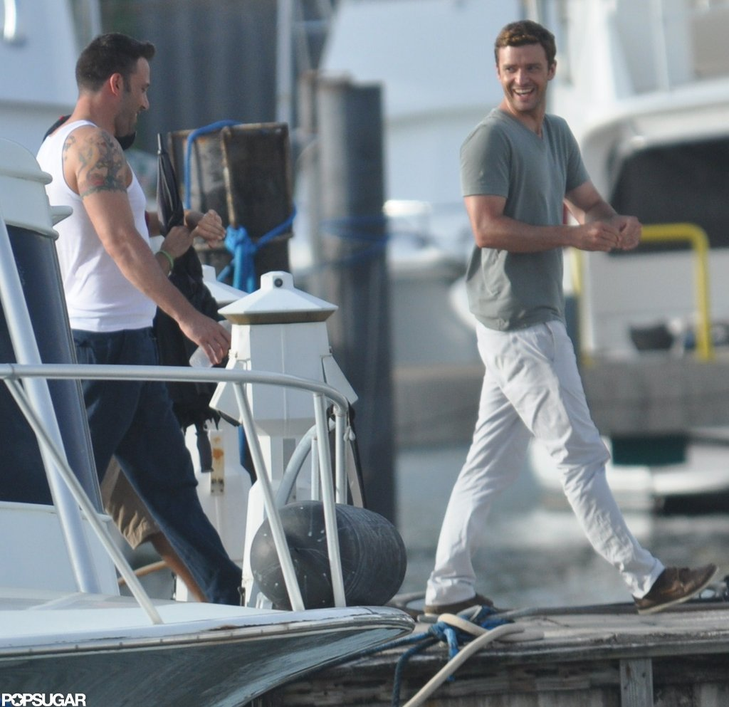 Ben Affleck wore a tank on set with Justin Timberlake.