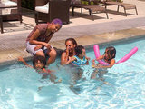 Mel B. played with her daughters in the pool. Source: Twitter user OfficialMelB