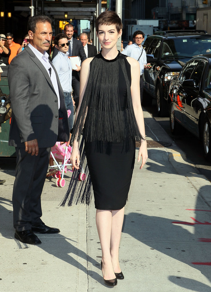 Anne Hathaway hit Late Show With David Letterman in this flirty, fringed Stella McCartney LBD.